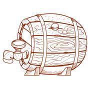 Wooden barrel for alcoholic beverages. - stock illustration