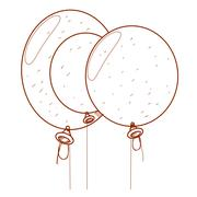 Three balloons outline drawing. Stock Illustration