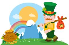 The man with bundle and a pot of gold. Stock Illustration