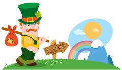 The man with a bundle on stick. St. Patrick Day. - stock illustration