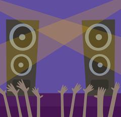Music scene background illustration - stock illustration