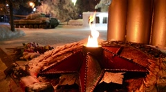 Eternal flame in memory of the Second World War 2 Stock Footage