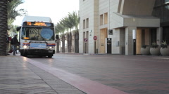Bus waiting at LA Union Station terminal Stock Footage