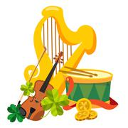 Golden harp, drum and violin. - stock illustration