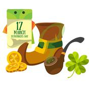 Boot gnome, smoking pipe and a calendar. March 17 day. St.Patrick 's Day. - stock illustration