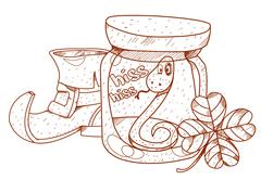 Boot gnome, nake in a glass jar and clover. - stock illustration