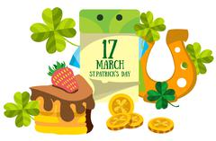 Calendar 17 March. St.Patrick 's Day. Golden Horseshoe and cake. - stock illustration