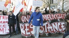 Protest in France city of Strasbourg Stock Footage