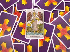 Tarot cards Tarot, the temperance card - stock photo