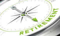 Retirement Plan, Concept Compass Image - stock illustration