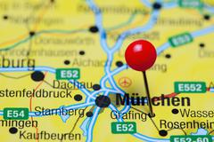 Grafing pinned on a map of Germany - stock photo