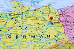 Berlin pinned on a map of Germany - stock photo