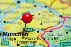 Wasserburg am Inn pinned on a map of Germany - stock photo