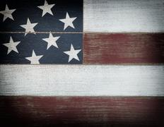 USA national colors painted on faded wooden boards with vignette effect Stock Photos