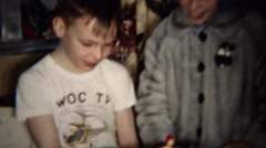 1961: Birthday boy wears WOC TV station helicopter shirt. Stock Footage