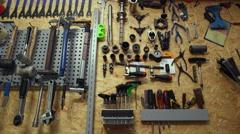 Toolbar in bicycle's workshop. Slider shoot Stock Footage