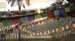 Prayer flags at sunrise Stock Footage