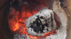 Fireplace with the smoldering piece of wood Stock Footage