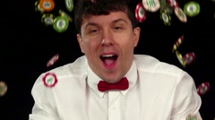The player won a big jackpot, and toss the chips in the air, black, cam moves - stock footage