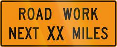 Road sign used in the US state of Virginia - Road work next XX miles - stock illustration