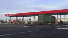 Heavy-Duty Truck Gas Station - stock footage