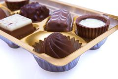 chocolate sweetmeats in box - stock photo