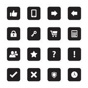 Black flat computer and miscellaneous icon set on rounded rectangle Stock Illustration