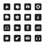 Black flat safety and miscellaneous icon set on rounded rectangle Stock Illustration