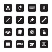 black flat business and office icon set on rounded rectangle - stock illustration