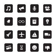 black flat transport and miscellaneous icon set on rounded rectangle - stock illustration