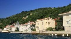 Beautiful luxury villas with sea view on the coastline to Bosporus Sea Stock Footage