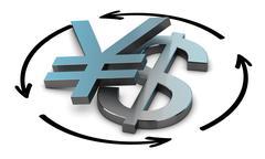 USD JPY Exchange Rate - stock illustration