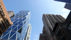 New York City street buildings driving moving tracking dolly - stock footage