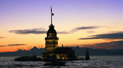 Maiden's Tower of Istanbul - stock footage