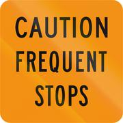 Road sign used in the US state of Virginia - Caution frequent stops - stock illustration