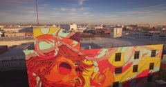 Aerial view of beautiful graffiti mural in downtown Los Angeles. 4K UHD. Stock Footage