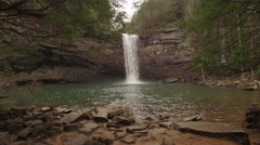 Aerial Winter Tennessee Waterfall 002 Slow Push In Through Trees Across Wate Stock Footage
