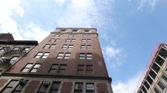 New York City street buildings driving moving tracking dolly Stock Footage