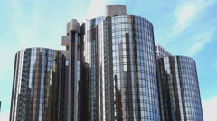 Stock Video Footage of Time Lapse of Cylindrical Building in Downtown Los Angeles Daytime