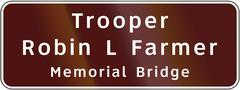 Road sign used in the US state of Virginia - Trooper Robin L Farmer Memorial  Stock Illustration