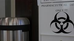 Pharmaceutical Disposal Bin Hazardous Symbal. Stock Footage
