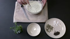Chef Adding Olive Oil in a White Sauce and Mixes Stock Footage