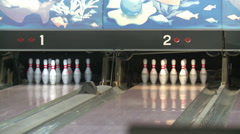 Hall for game in bowling. - stock footage