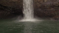 Aerial Winter Tennessee Waterfall 007 High Ascent Tilt Down Stock Footage