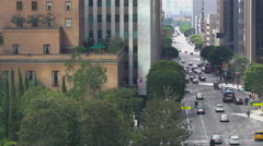 Flower Street in Downtown Los Angeles -Pan Right- Stock Footage