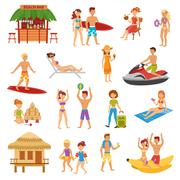 Beach flat set - stock illustration