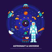 Astronaut And Universe Set Stock Illustration