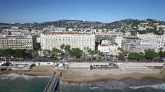 Aerial view of the croisette beach, Cannes, French riviera - stock footage