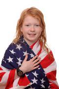 Patriotic girl - stock photo