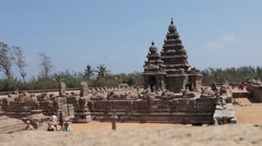 Ancient temple of Mahabalipuram Wide Shot with depth of field Stock Footage